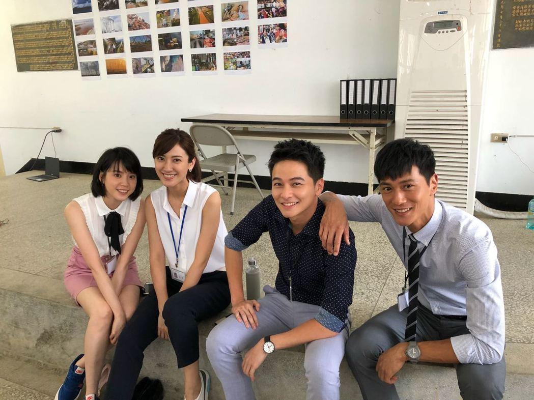 程予希(左起)、陳怡嘉、楊銘威、鍾承翰在新戲「最佳利益」中飾演實習律師。圖/群之...