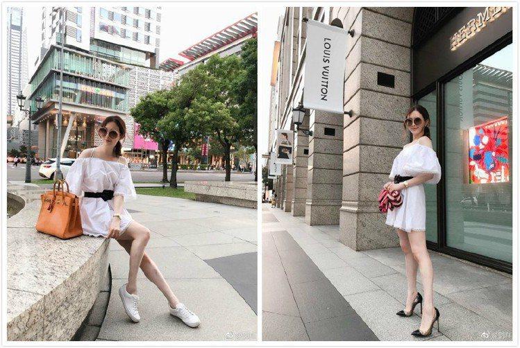 不論小白鞋或高跟鞋,劉真都能搭出長腿照片。圖/取自微博