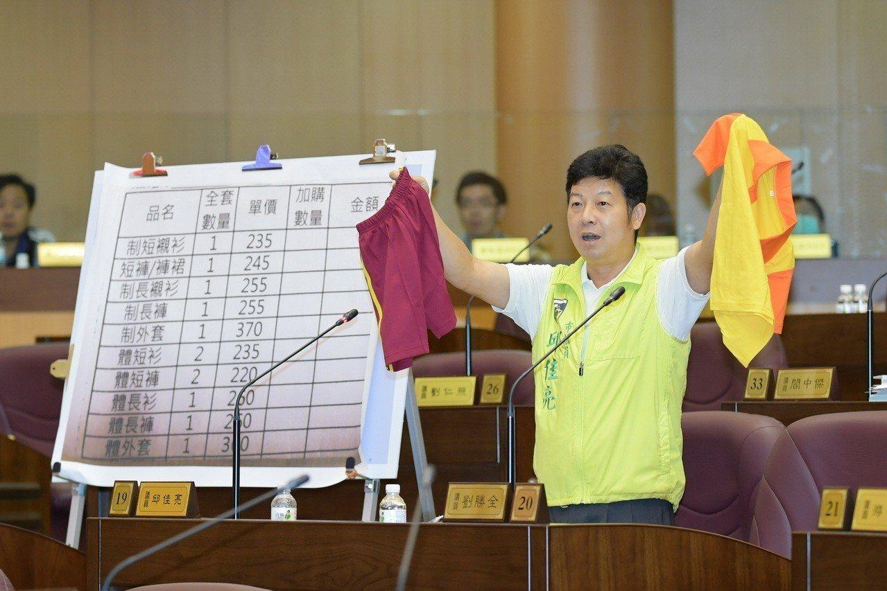 市議員邱佳亮昨天在議會質詢,指出新屋國小制服與體育服各一套要1500元,直呼是「...