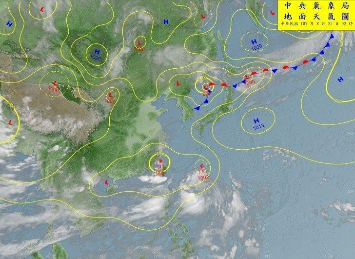 中央氣象局表示,台灣受西南氣流影響,將一連下雨到下周三。圖/翻攝自中央氣象局網站