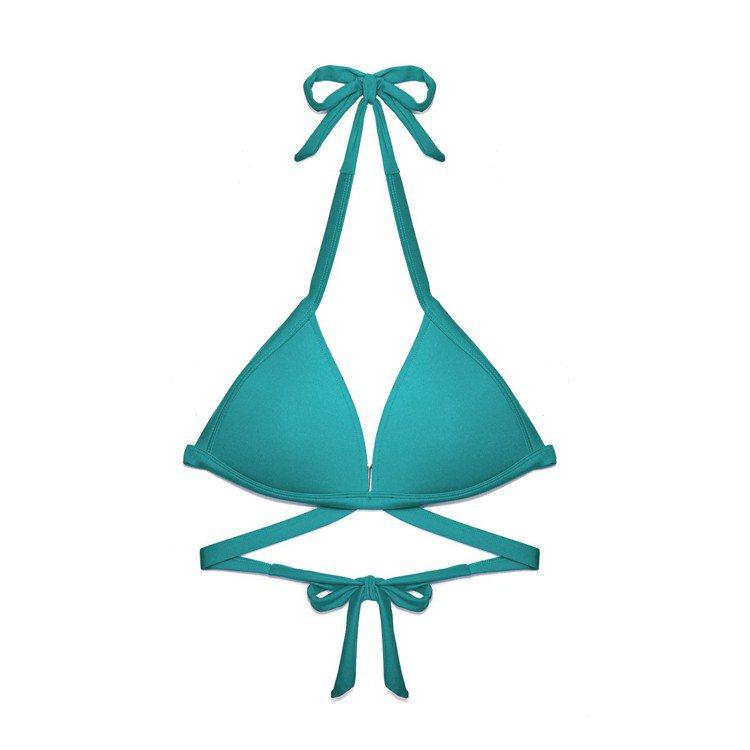 孔雀綠二代女神繞頸美波比基尼,適合梨形身材上身穿搭。圖/WAVE SHINE提供