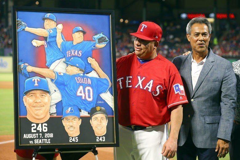 老將柯隆(左)生涯勝投已超越名將馬丁尼茲(右),成為拉丁美洲籍球員中最多勝的投手...