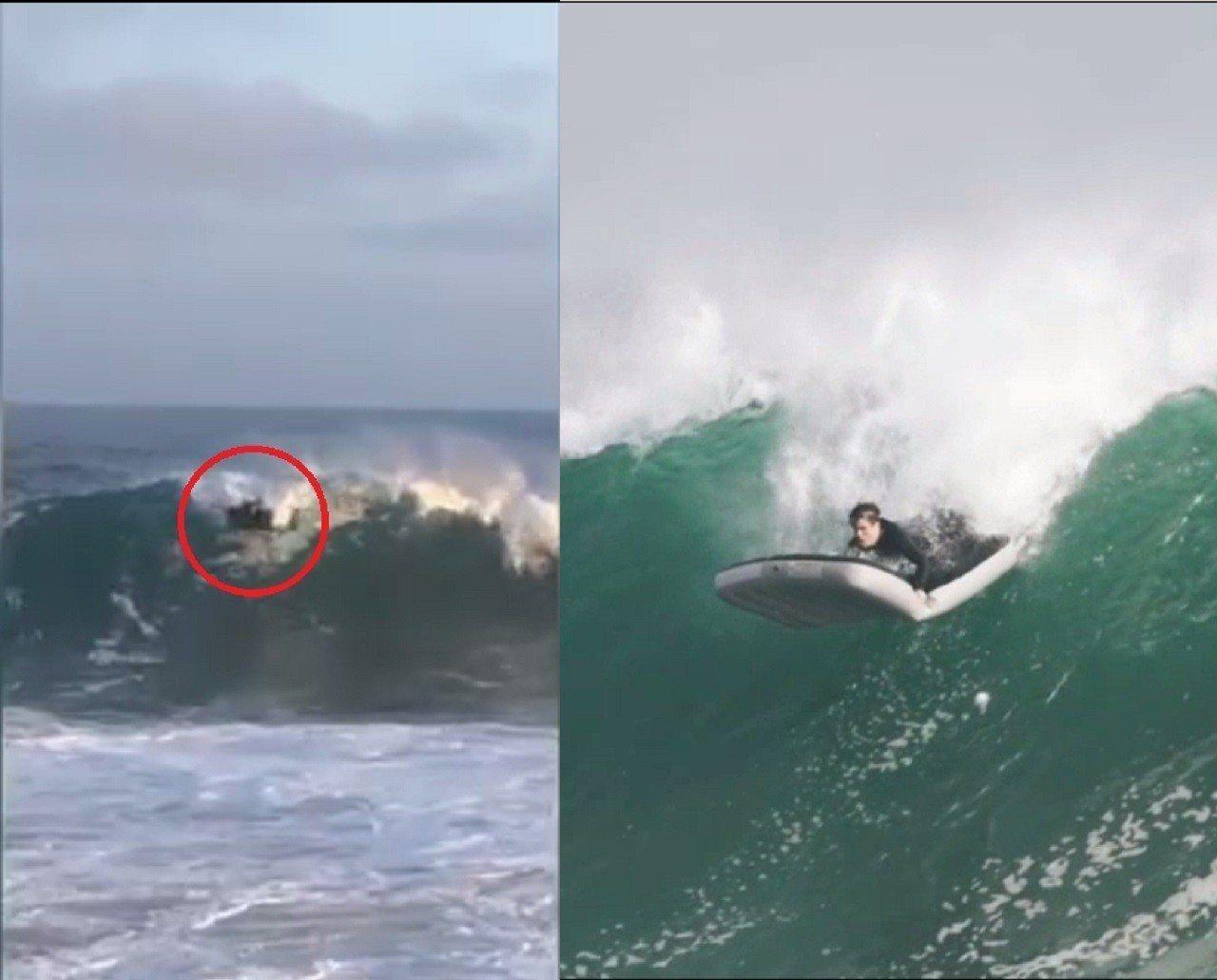 加州知名衝浪景點,日前出現一名男子,用充氣床墊成功征服大浪,引來現場一陣歡呼。圖...