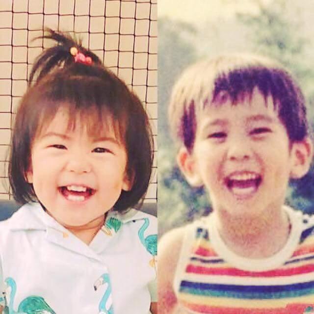 修杰楷(右)po出自己童年照與女兒Bo妞對比。圖/摘自臉書