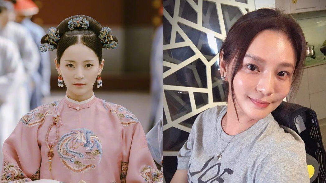 「延禧攻略」中的純妃(左)和梁家榕相似度高達90%。圖/摘自微博、臉書