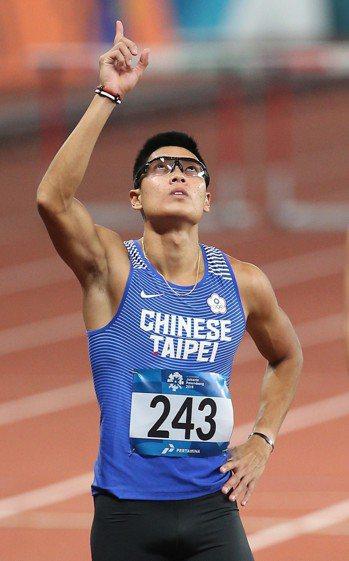 陳傑昨天在男子400公尺跨欄準決賽排名第1。特派記者陳正興/雅加達攝影(資料照)