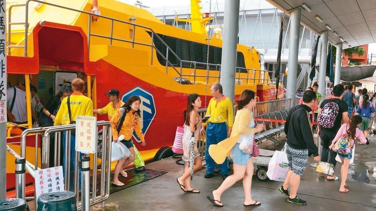 東琉線交通船昨天中午前總共疏運2500名旅客返台,下午均停航。 記者蔣繼平/攝影