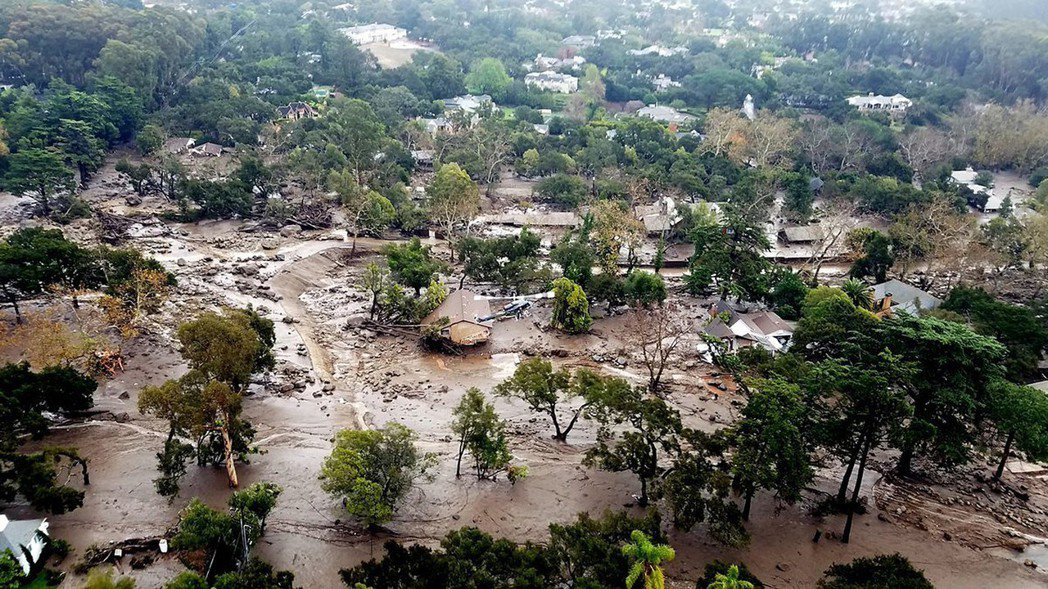 加州聖塔巴巴拉地區今年初因暴雨引發土石流。 (美聯社)