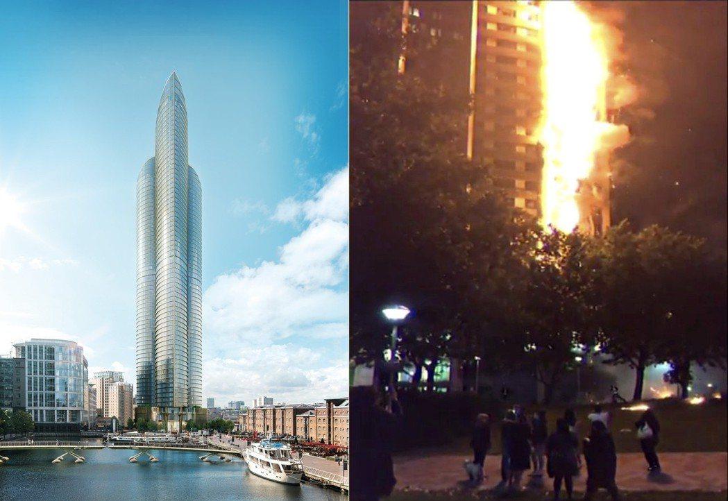 高67層樓、771呎(235.1公尺),倫敦之巔(圖左)56層以上的高樓層,卻只...