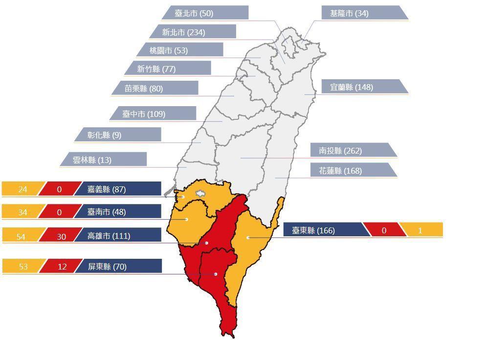 農委會今天上午發布土石流紅色警戒42條,分布於高雄及屏東市的6鄉15 村,另針對...