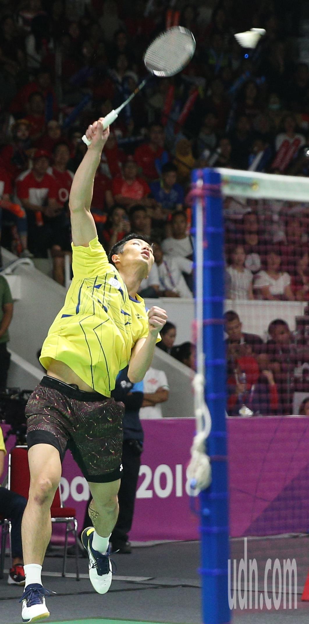 周天成不敵地主選手,亞運羽球男單拿銀牌。特派記者陳正興/雅加達攝影