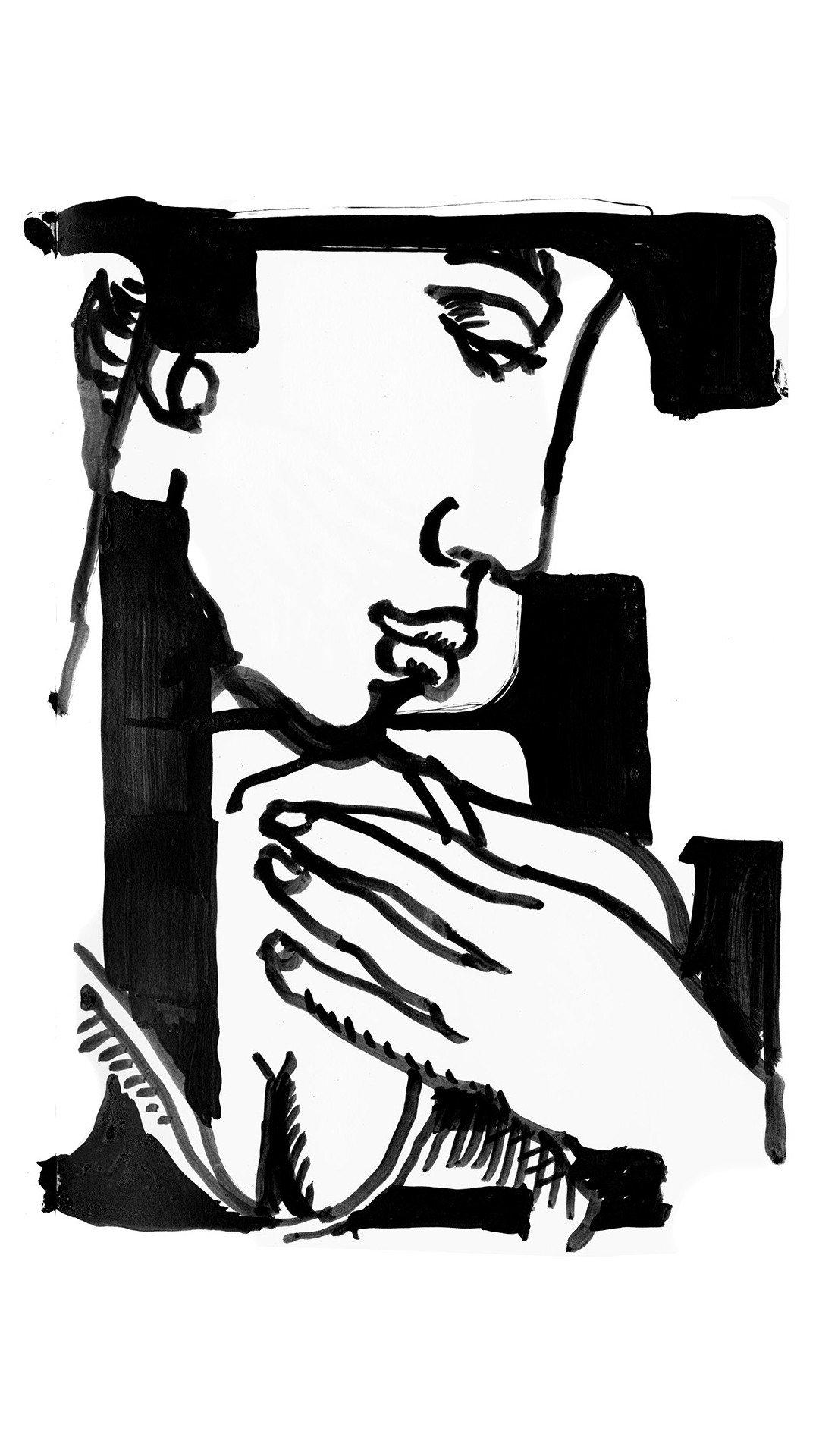 26個英文字母上各以單色女性臉孔或身體圖像裝飾,樣貌多變。圖/Miu Miu提供