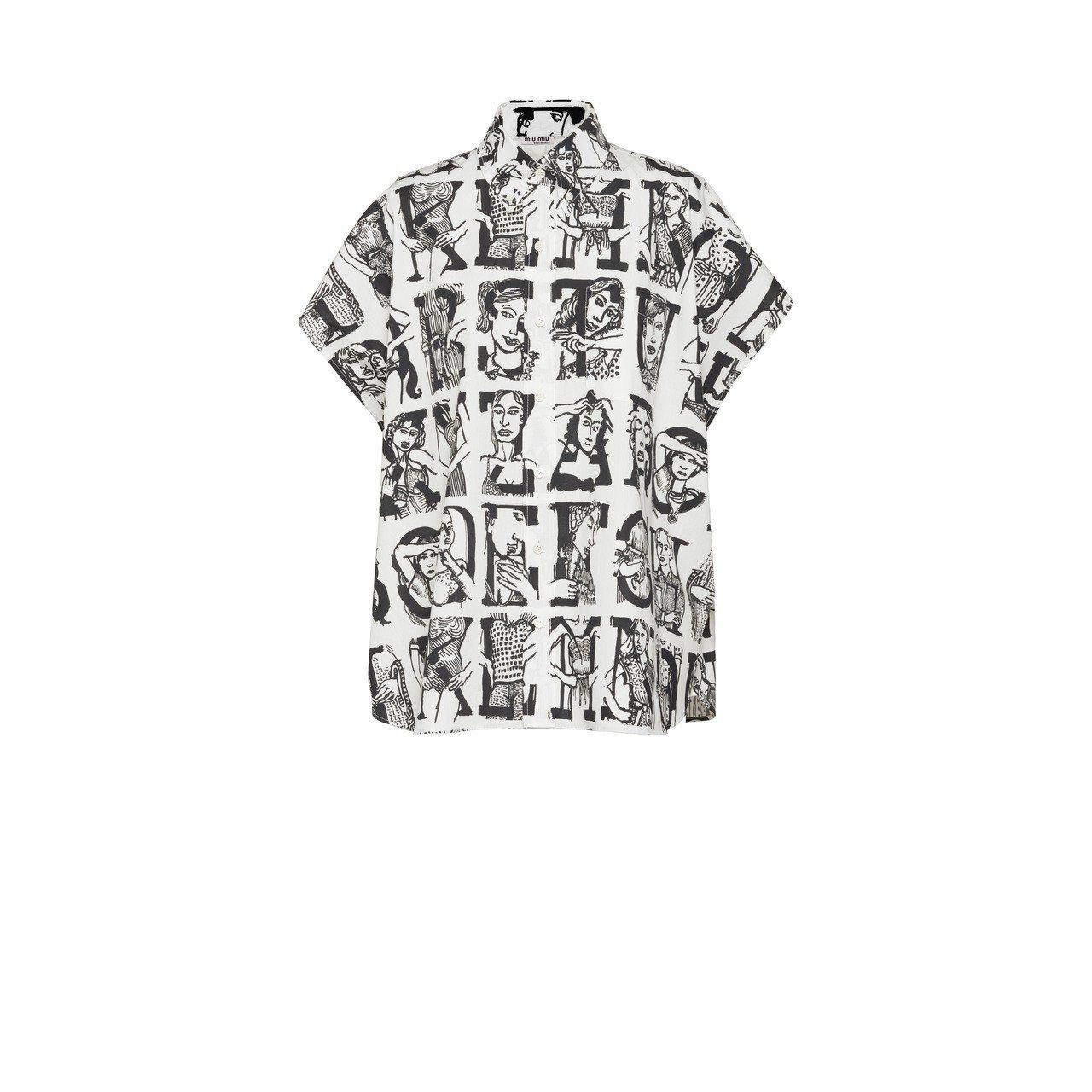MiuMiu Type字母印花襯衫(非訂製款)27,500元。圖/Miu Miu...