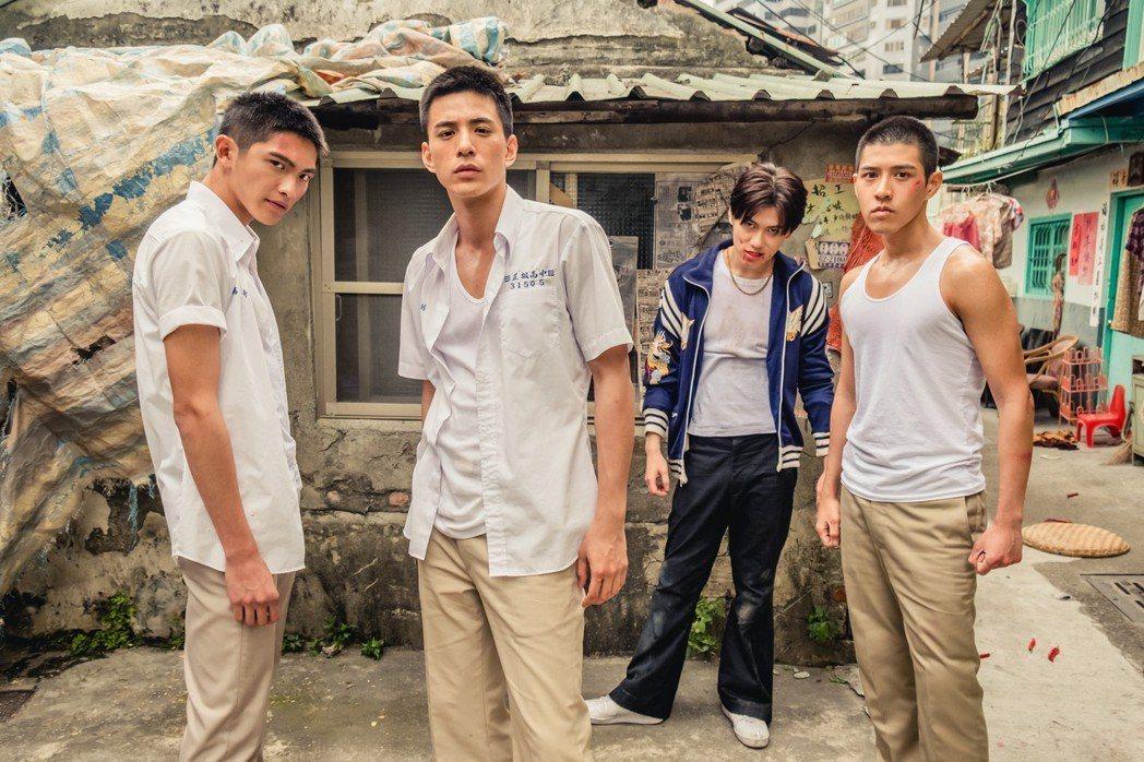 林輝瑝(左起)、林柏叡、邱宇辰以及吳岳擎主演的「鬥魚」,開出票房佳績。圖/多曼尼