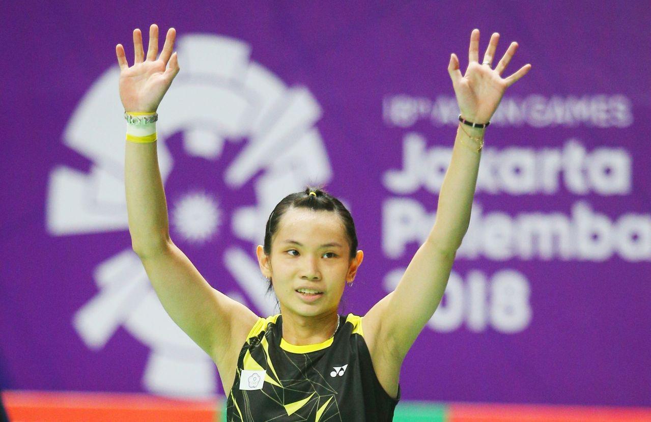 戴資穎直落2摘下亞運羽球女單金牌。 聯合報特派記者陳正興/雅加達攝影