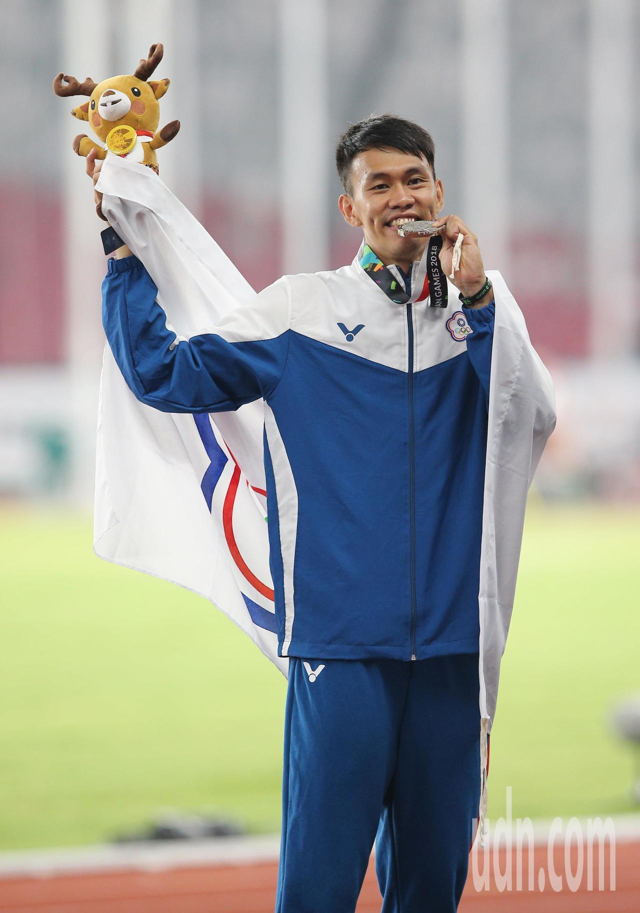 陳奎儒在亞運田徑男子110公尺跨欄奪銀。特派記者陳正興/雅加達攝影