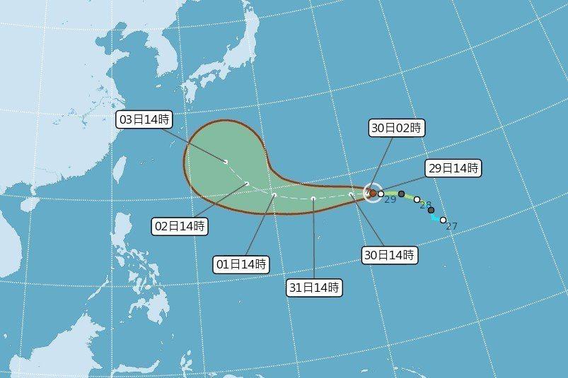 今年第21號颱風燕子已經增強為中度颱風。 圖/中央氣象局