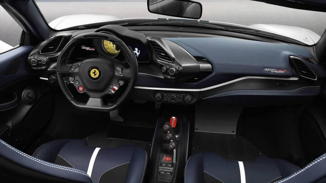 Ferrari 488 Pista Spider 車室。 摘自Ferrari