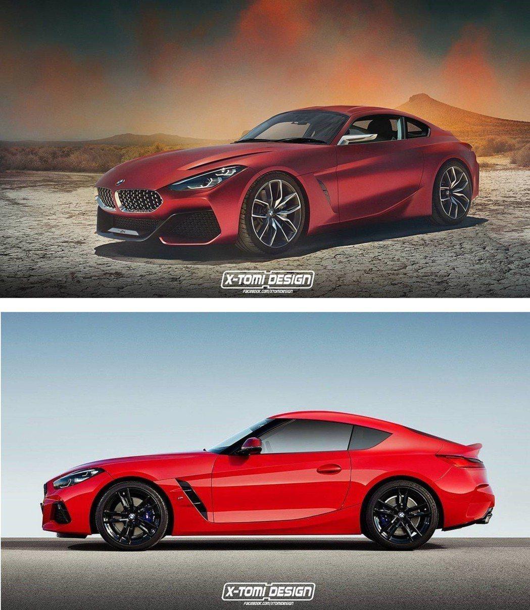圖上:以Z4概念車設計的硬頂車型、圖下:以Z4量產車車計的硬頂車型。 摘自X-Tomi Design