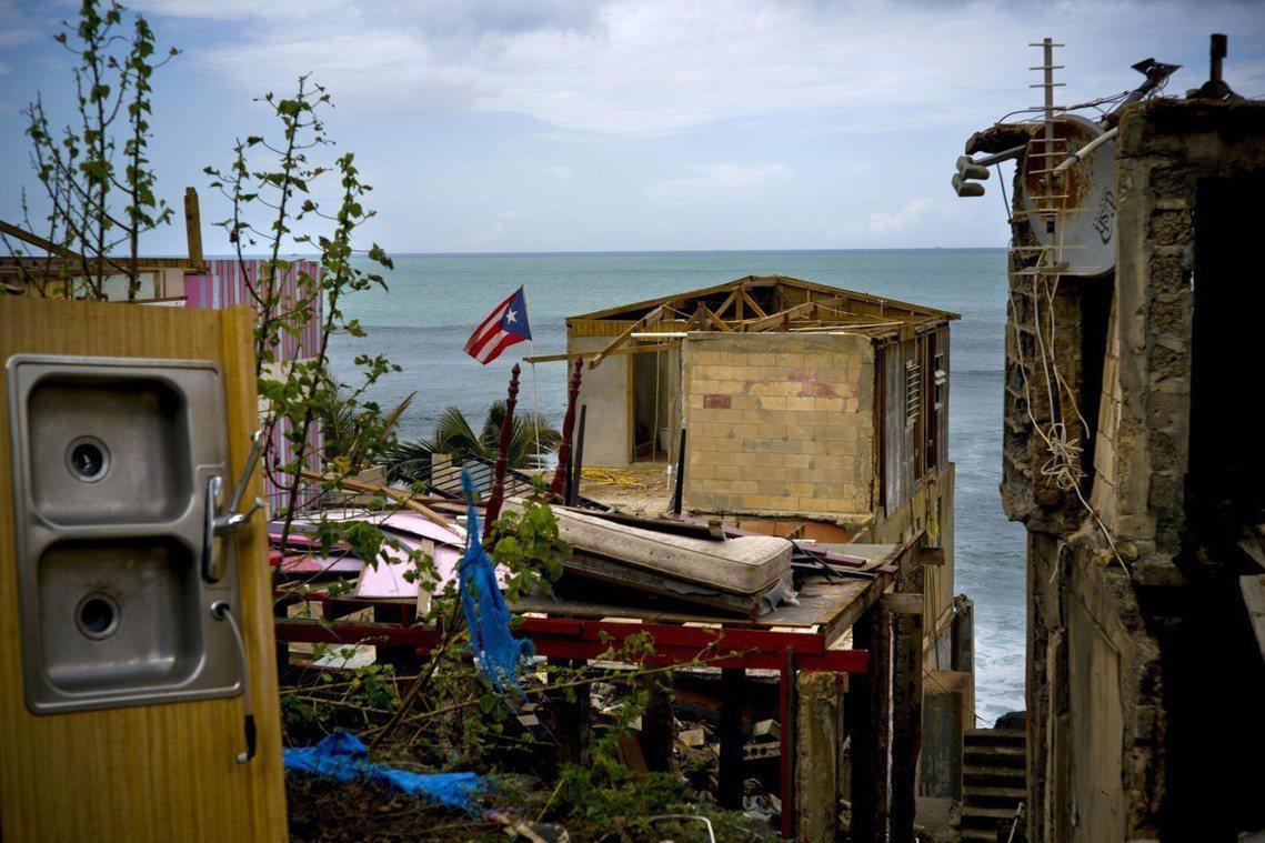 圖為受風災重創的波多黎各。去年9月瑪莉亞颶風侵襲,至今歷時將滿一周年,當時公布「...