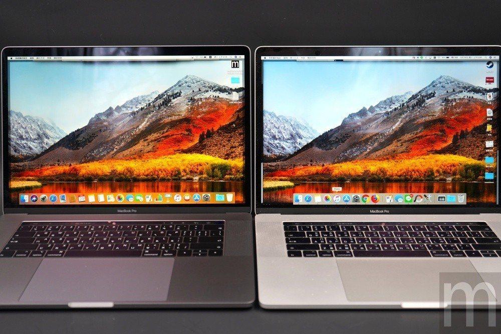 將True Tone功能開啟後,2018年款MacBook Pro (左)的螢幕...