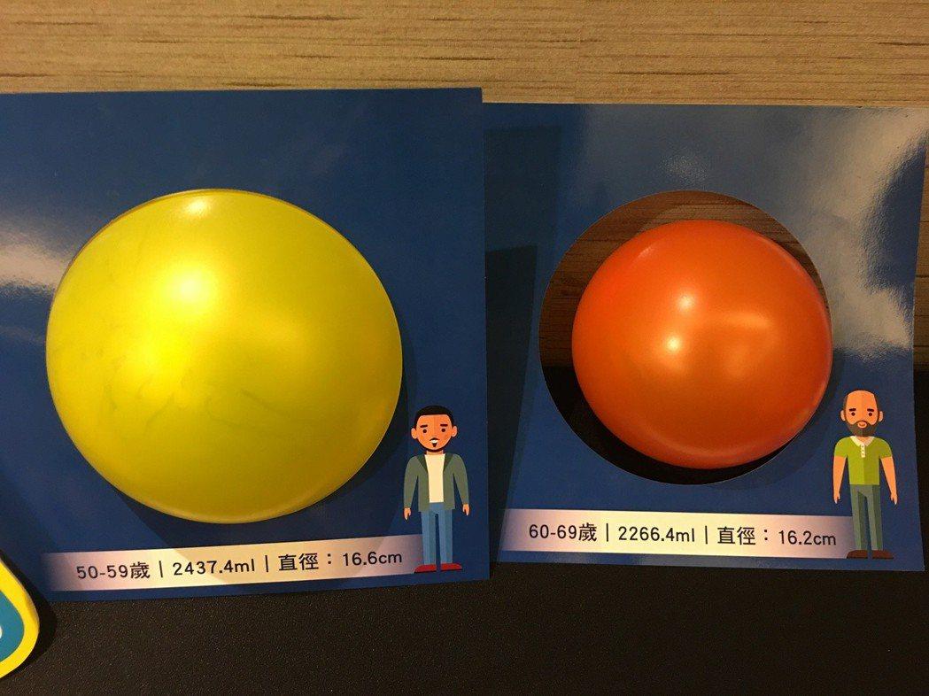 菜瓜布肺檢測,只要吹一顆氣球,再將氣球對比測量板,就可初步檢視肺活量。 記者鄧...