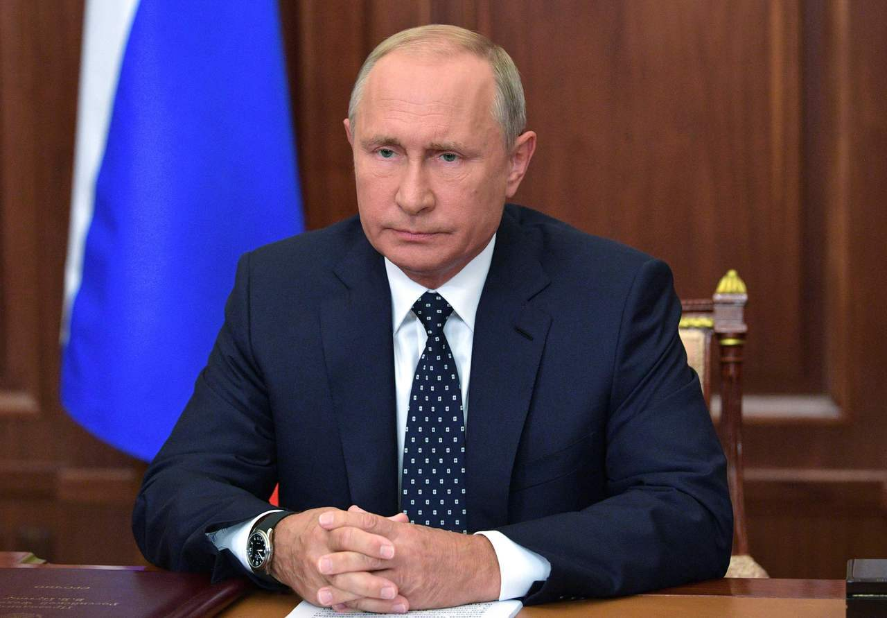 俄羅斯總統普亭29日發表電視演說解釋年金改革的必要性與迫切性。法新社
