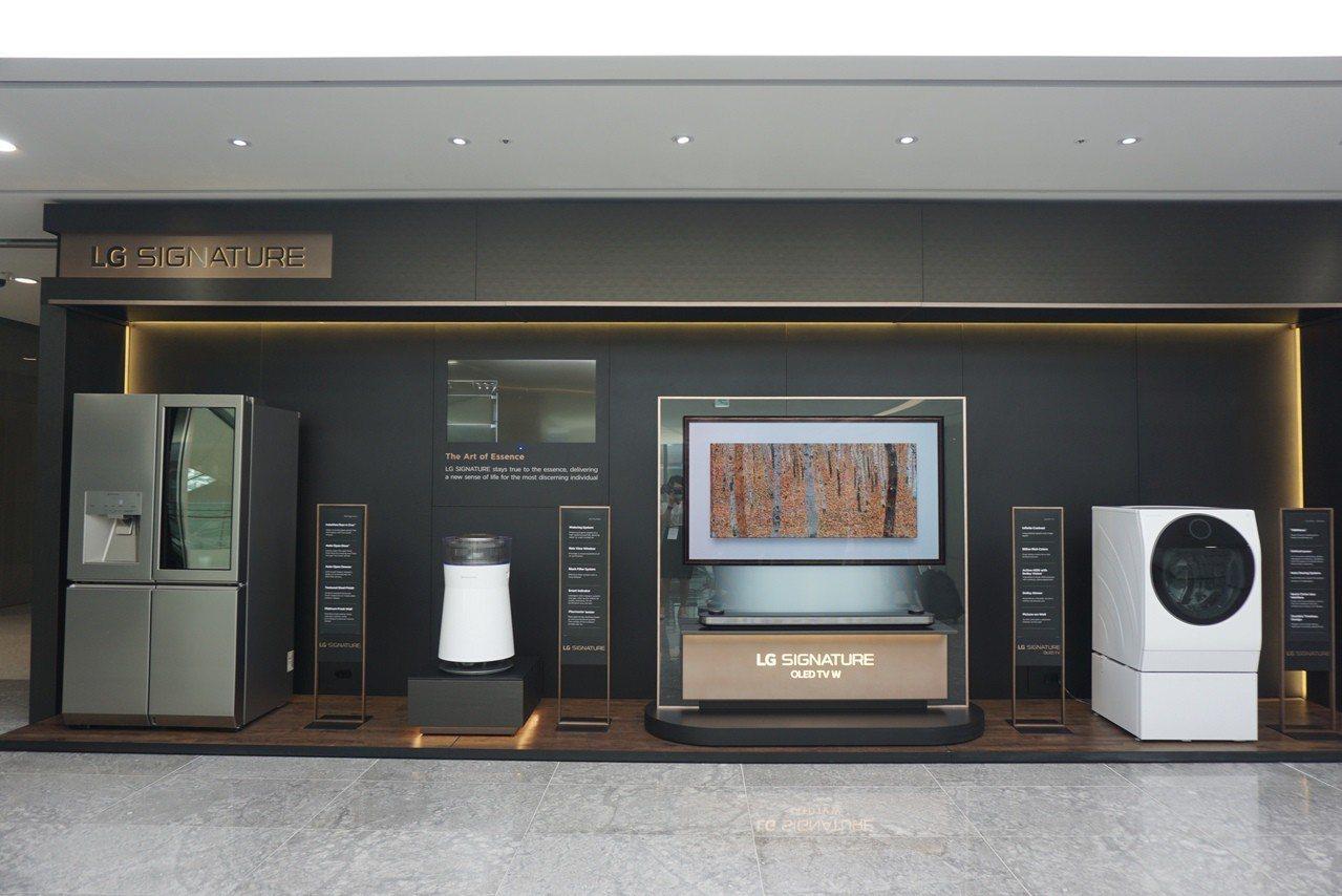 先前亮相過的LG SIGNATURE系列OLED電視、洗衣機、空氣清淨機與冰箱,...