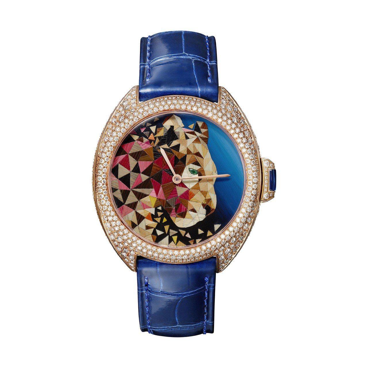 首度來台的Clé de Cartier麥稈鑲嵌美洲豹腕表。圖/卡地亞提供