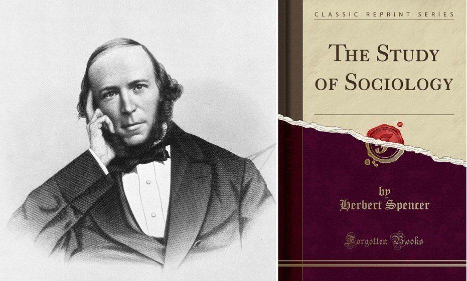 左:英國學者斯賓塞;右:其著作The study of sociology。 圖/維基共享