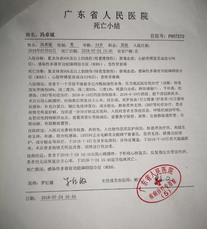 7月24日,馮卓斌死於肺部感染、急性呼吸窘迫綜合症及低蛋白血症等。 擷自微信