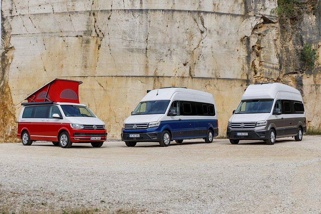德國福斯商旅在杜塞道夫露營車展上,一口氣展示大、中、小各種尺碼不同的露營車。 圖/福斯商旅提供