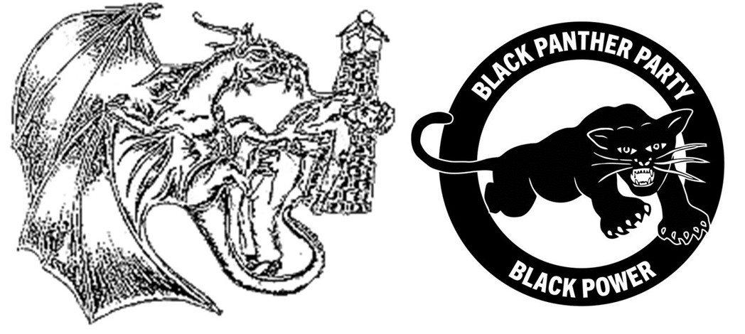 黑人游擊隊家族(左)與黑豹黨(右)的標誌。 圖/維基共享