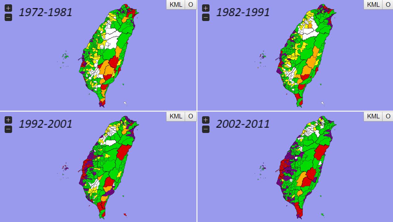 以衛福部統計資料大數據繪製的台灣近40年癌症地圖顯示,台中至屏東沿海許多縣市,癌...