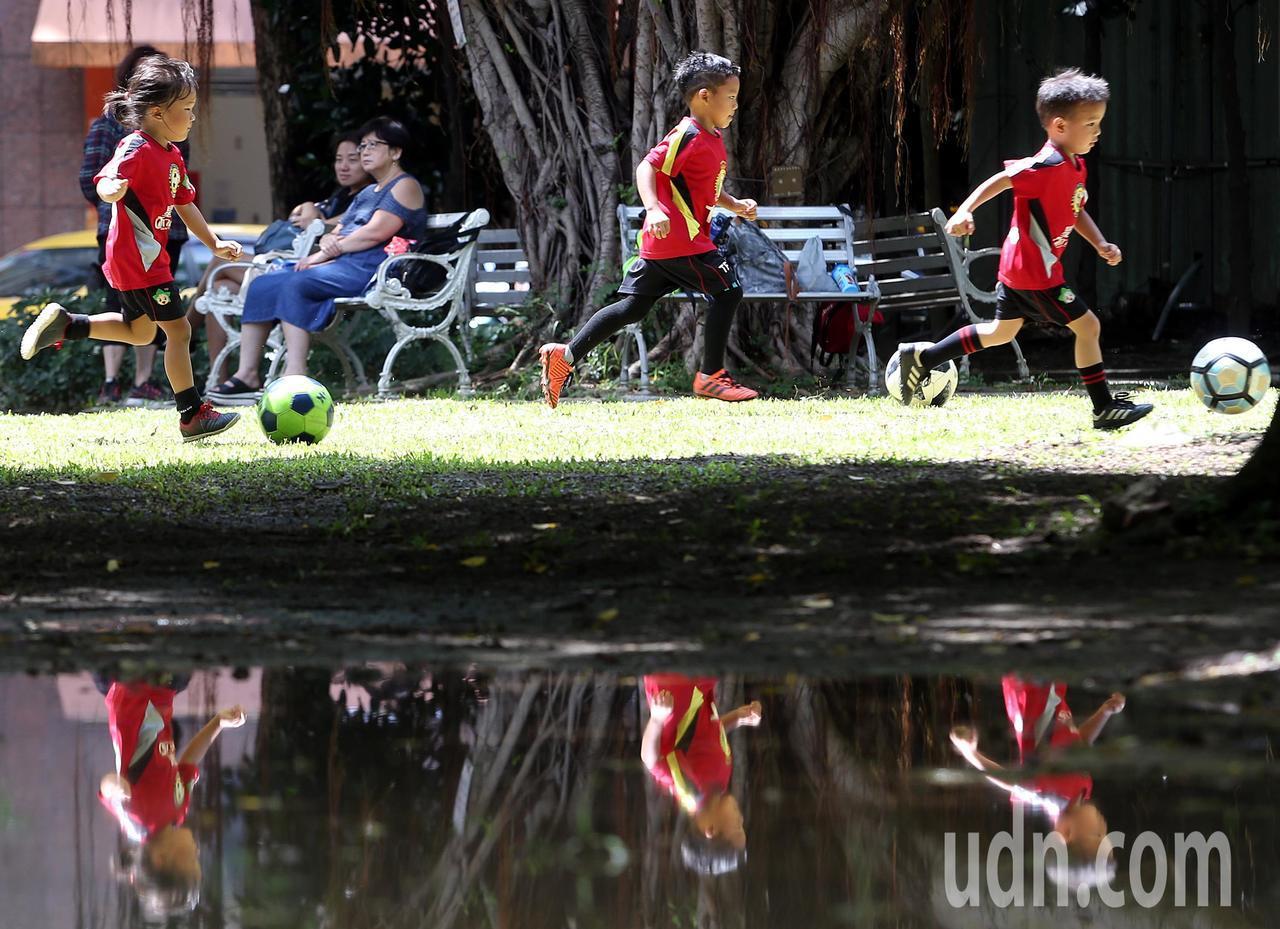 小朋友在烈陽下享受踢球樂,一旁的積水倒映其認真奔跑身影。記者侯永全/攝影