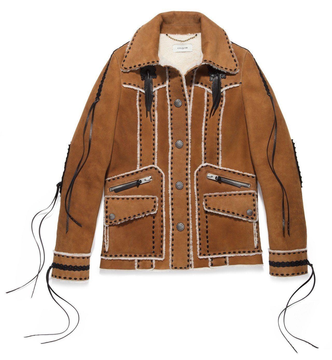 翻毛羊皮夾克,售價87,800元。圖/COACH提供