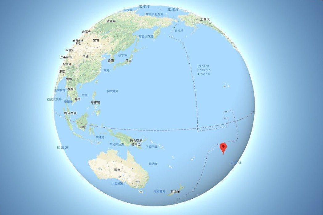 楊偉中在紐西蘭庫克群島(紅標處)度假為救落水的女兒不幸溺斃。圖擷自Google ...