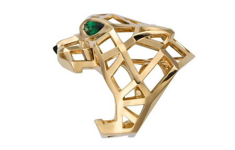 Panthère de Cartier美洲豹戒指,黃K金鑲嵌沙弗萊石與縞瑪瑙,6...