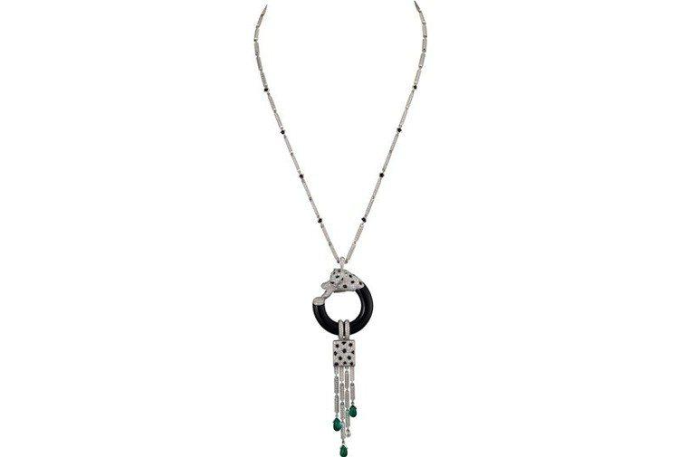 Panthère de Cartier美洲豹項鍊,白K金鑲嵌祖母綠、縞瑪瑙、鑽石...