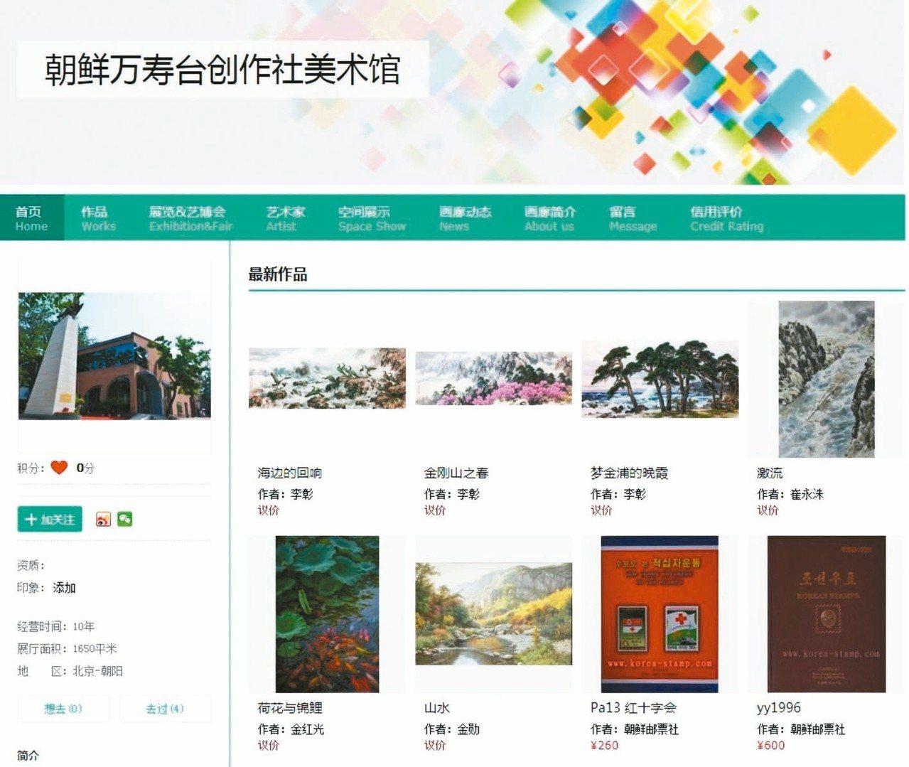 北韓在北京798藝術區設立「北韓萬壽臺創作社美術館」,官網販售許多北韓藝術家的畫...