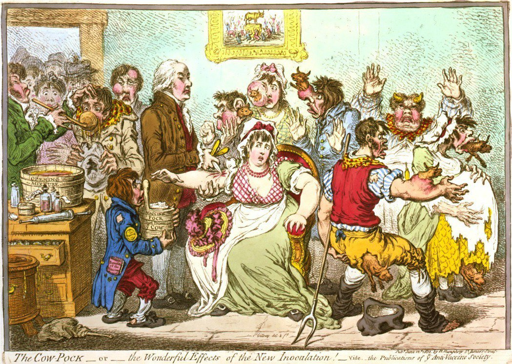 圖為英國諷刺漫畫家吉爾雷(James Gillray)於19世紀初創作的作品,顯...