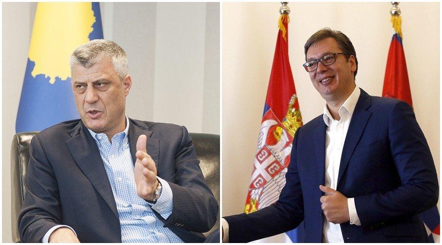 塔、武兩人究竟在打甚麼算盤? 圖左為科索沃總統塔奇(Hashim Thaçi);...