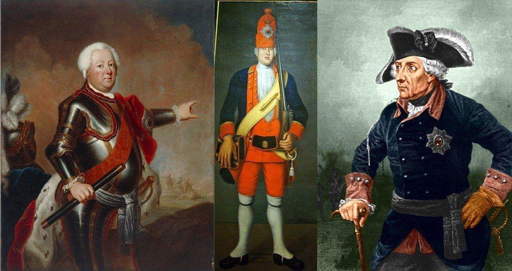 「軍事宅」的腓特烈一世(圖左),相信身高即是戰力,四處招募組成「普魯士巨人軍團」...