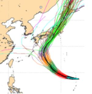 最新(30日20時)歐洲系集模式顯示,50次的模擬成員中,北轉襲日的機率非常高,...