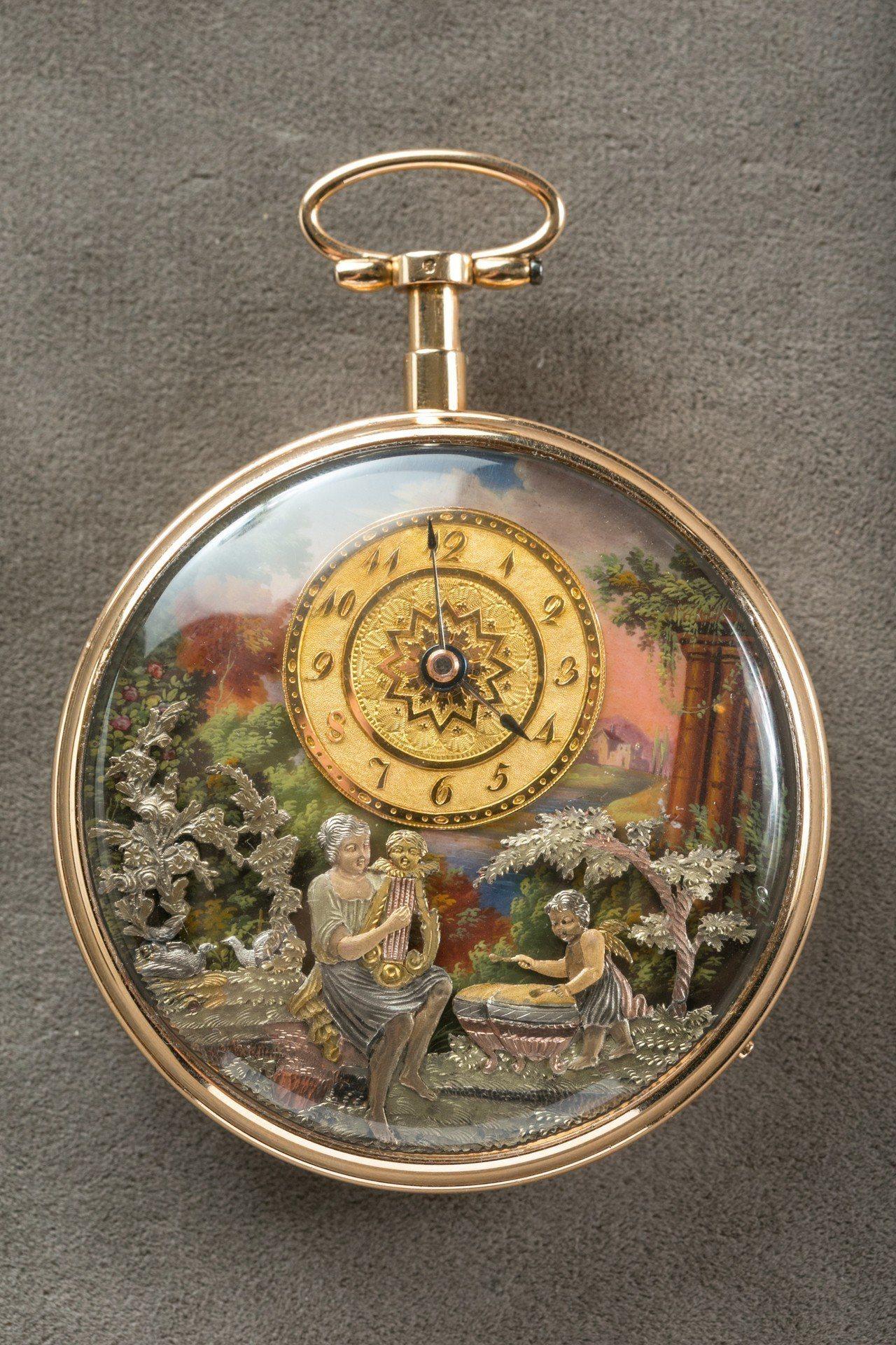 1780年間的琺瑯面盤三問人偶表,表盤上的金質浮雕就是少見的白金、黃金、玫瑰金三...