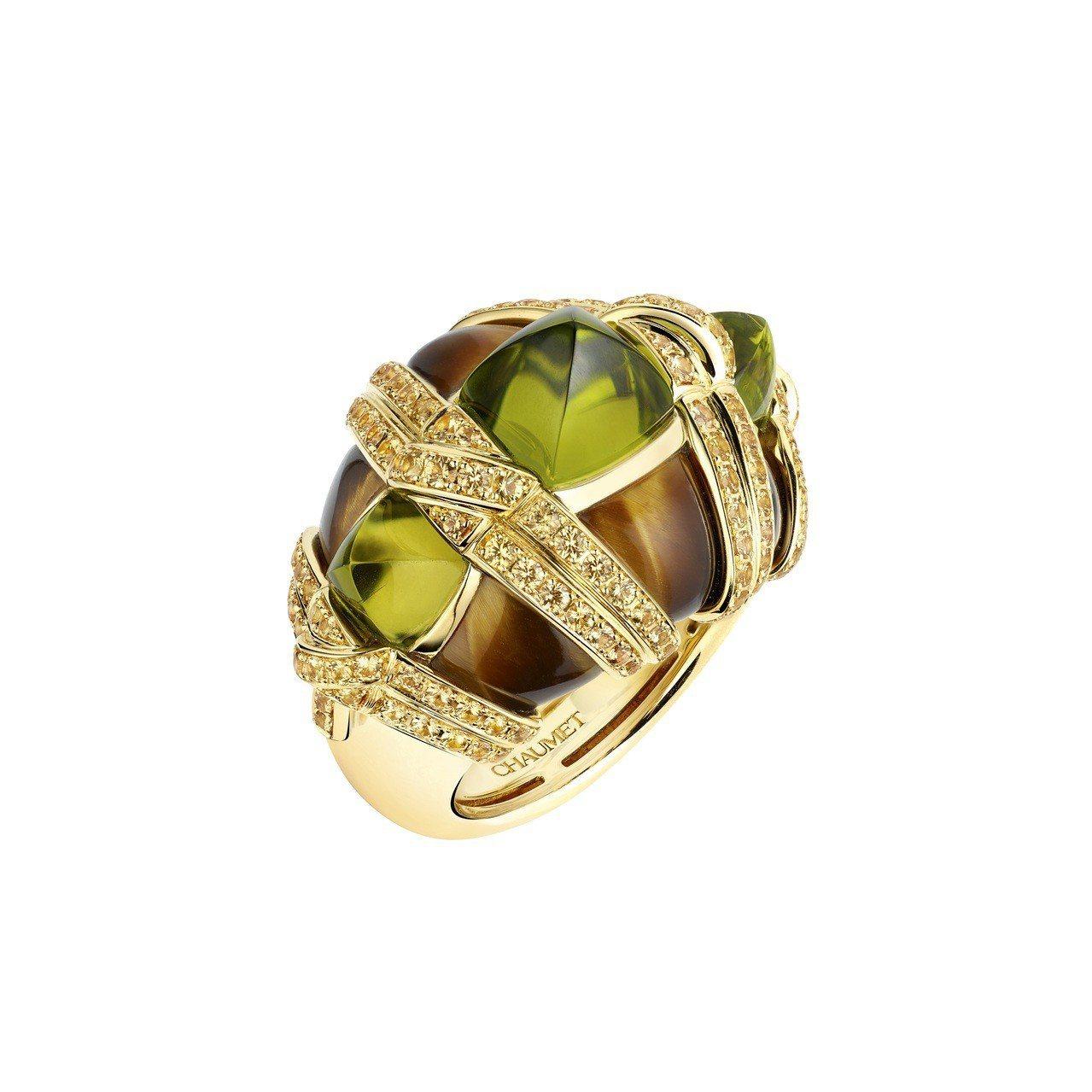Talismania 護身圖騰系列18K黃金橄欖石戒指,227萬3,000元。圖...