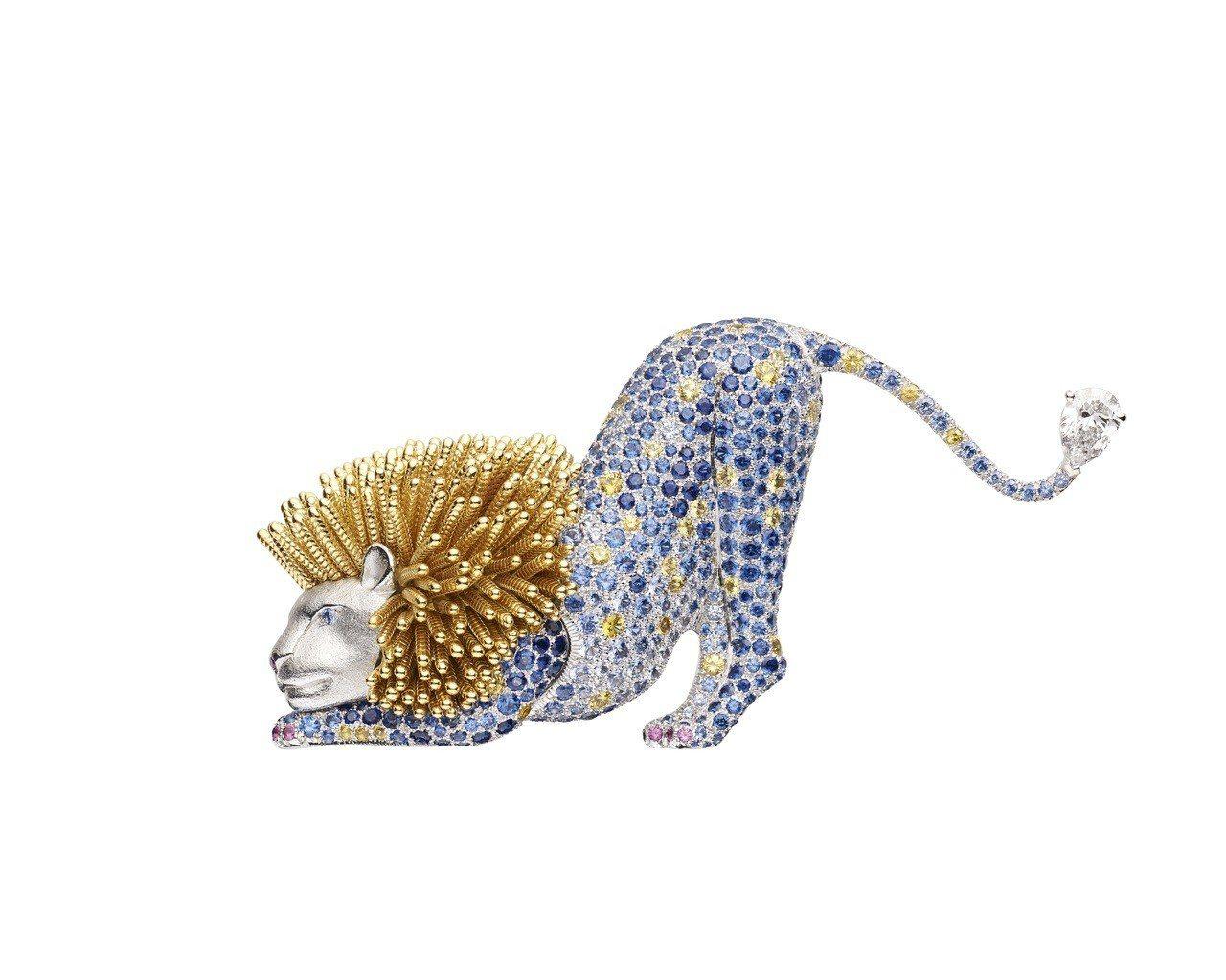 Espiègleries 獅子胸針,18K白金和18K黃金鑲嵌鑽石,950萬3...