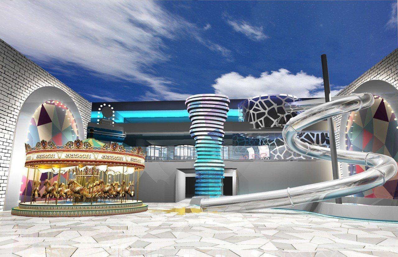 ATT 4 Recharge室內設有全台最大旋轉木馬、溜滑梯及冰宮等大型娛樂設施...