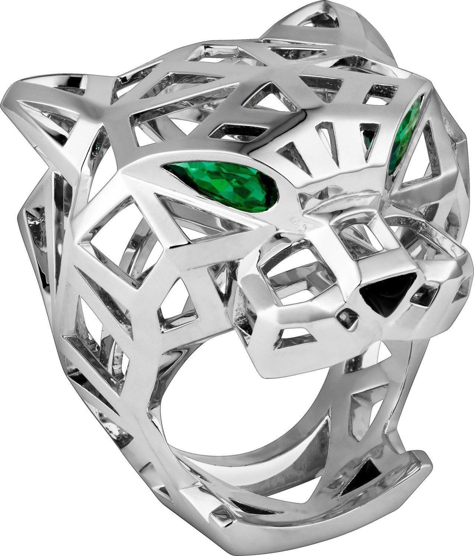 炎亞綸最喜歡這款 Panthère de Cartier美洲豹鏤空戒指,白K金鑲...