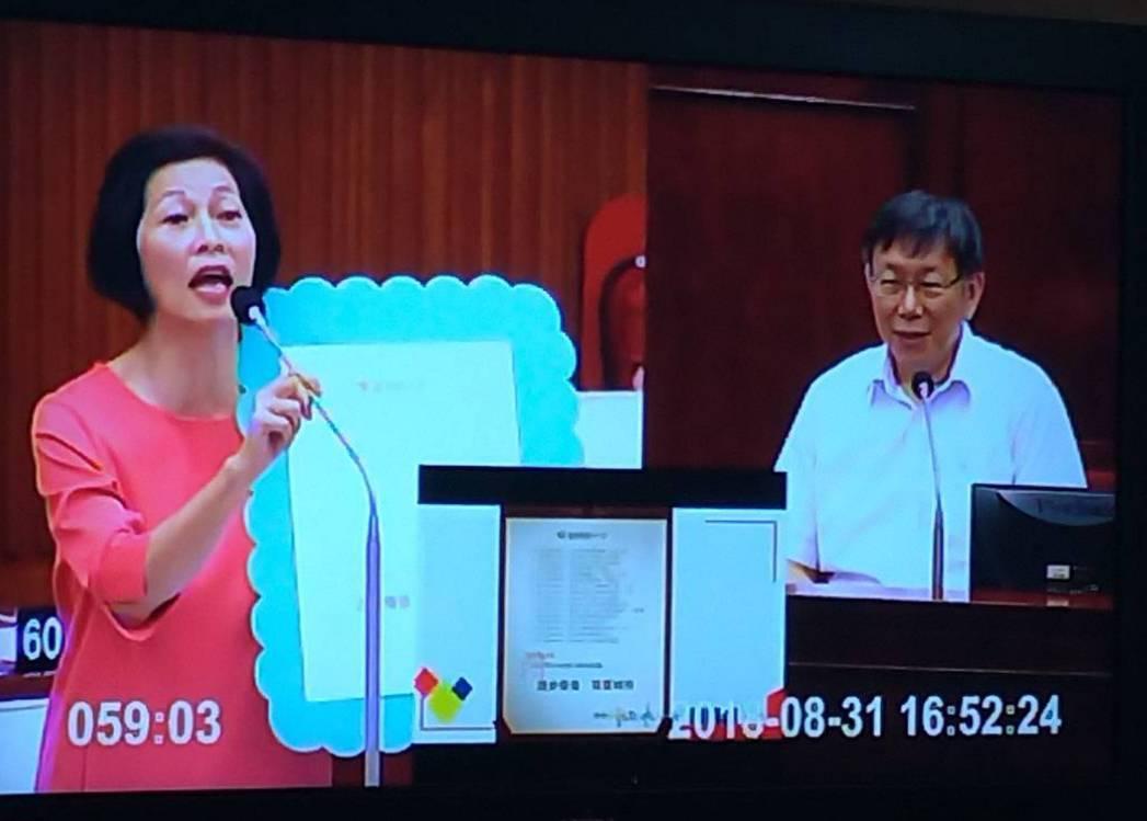 市議員汪志冰質詢台北市長柯文哲,是否有將議員區分為柯友或柯黑。記者莊琇閔/攝影